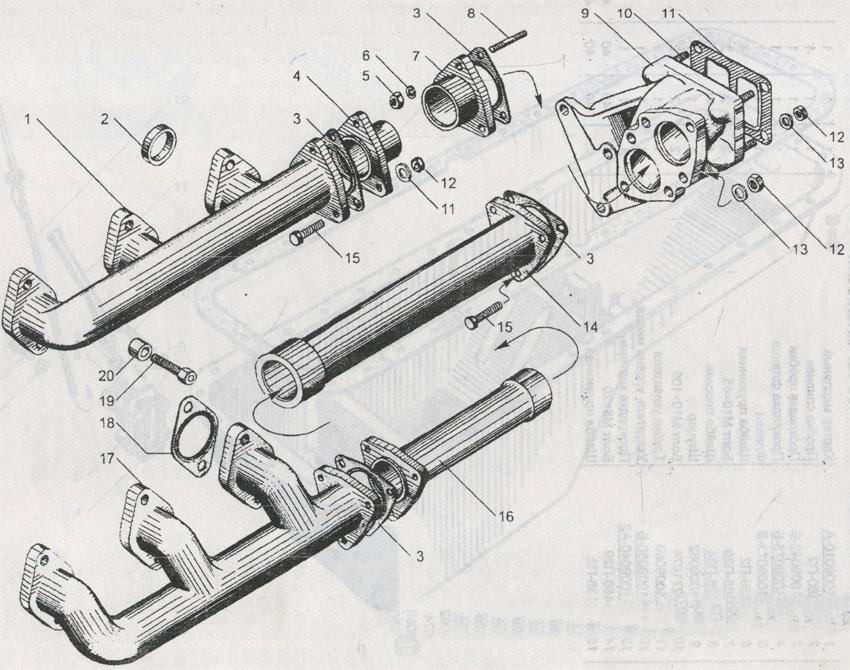 газопровод двигателей ЯМЗ 240М2